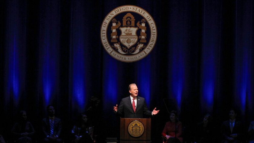 Mayor Kevin Faulconer gives his State of the City Address at San Diego's Balboa Theatre in January.