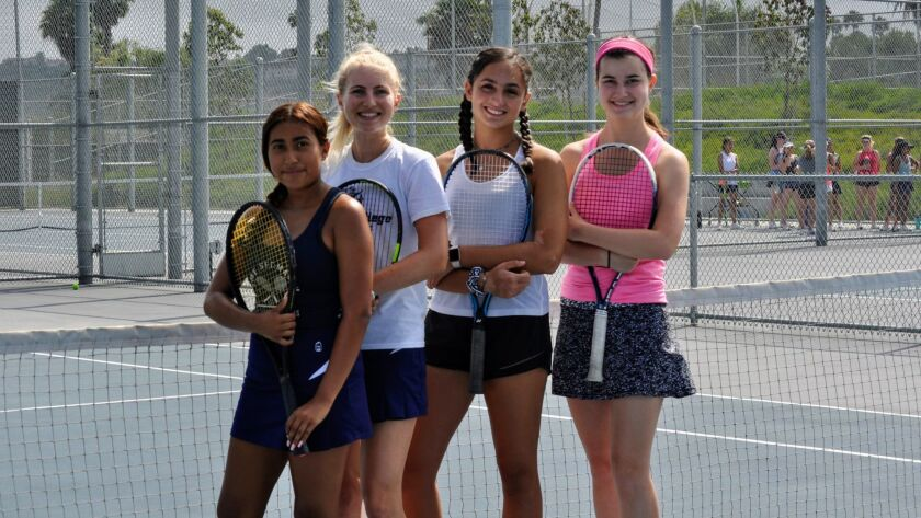 Tennis players (from left) Kathy Henderson, Maddie Bartels, Alexia Jovanovic and Kate Muldowney have contributed to San Marcos' success in the sport.