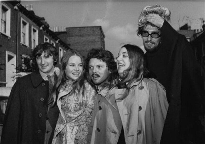 "The Mamas And The Papas are shown in 1967 with singer-songwriter Scott McKenzie. From left are Denny Doherty, Michelle Phillips, Scott McKenzie, Cass Elliott and John Phillips. Michelle Phillips is featured in the new EPIX docu-series ""Laurel Canyon."""