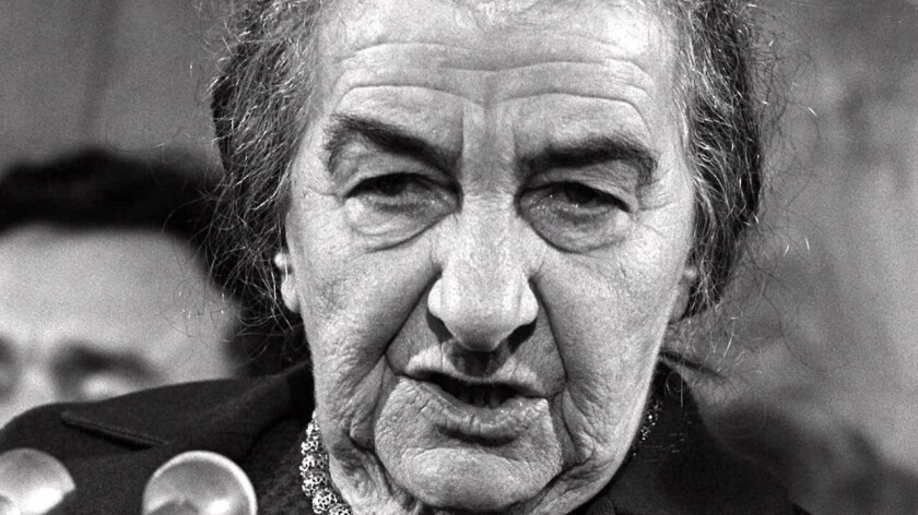 Golda Meir in 1973 as she arrives for talks with President Nixon.