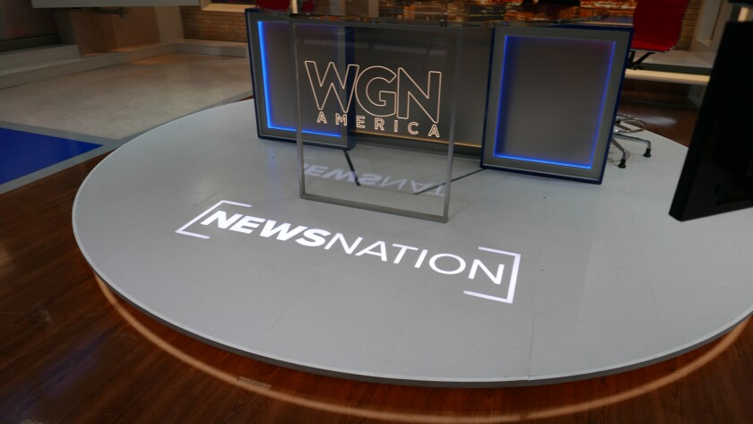 """The set of """"NewsNation"""" at the WGN studios in Chicago."""