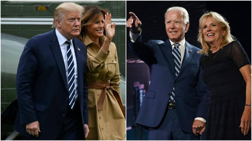 El ex presidente Donald Trump y su esposa Melania Trump y el presidente Joe Biden, y su esposa, Jill.