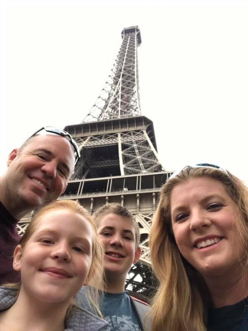 Scott, Kiera, Jackson and Nancy Latulippe, (left to right) in 2016 on vacation in Paris.