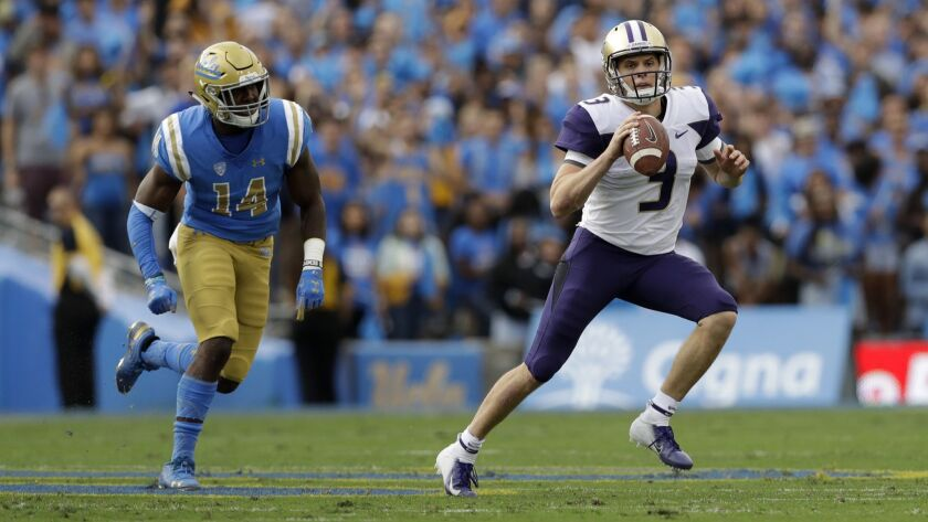 Washington quarterback Jake Browning during the first half of an NCAA college football game against
