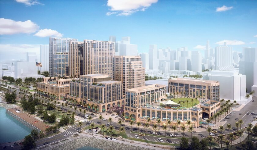 Manchester Pacific Gateway on Harbor Drive south of Broadway would include hotels, office buildings and retail space.