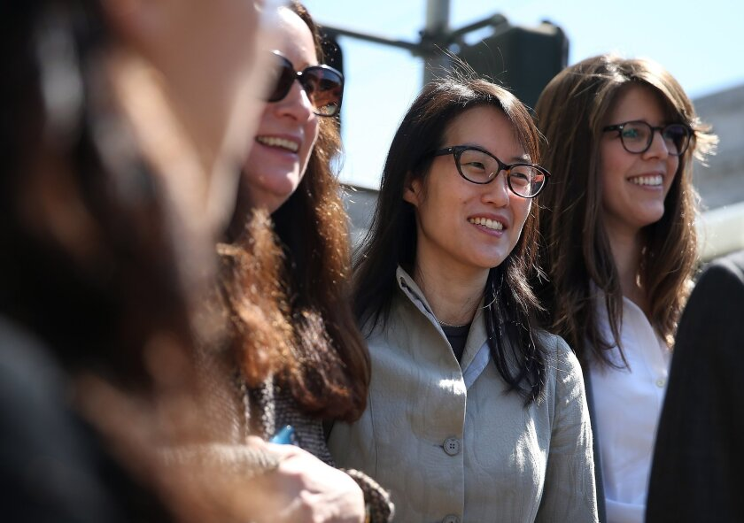 Ellen Pao (center) leaves the San Francisco Superior Court Civic Center Courthouse with her legal team during a lunch break from her trial on March 25.