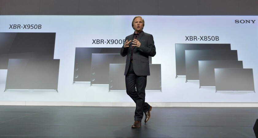 Mike Fasulo, President of Sony Electronics, speaks at the Consumer Electronics Show in 2014.