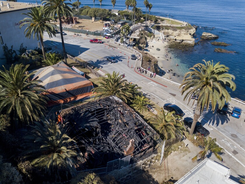 One of La Jolla's historic cottages was nearly destroyed by fire early Oct. 26. (K.C. Alfred / The San Diego Union-Tribune)