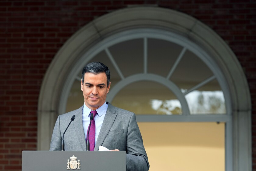 """FILE - In this June 22, 2021 file photo, Spain's Prime Minister Pedro Sanchez prepares to deliver a statement at the Moncloa Palace in Madrid, Spain. Prime Minister Pedro Sanchez has overhauled his Cabinet to form what he calls """"the government of the recovery"""" following the coronavirus pandemic.The biggest change was the exit of Carmen Calvo, Sanchez's right hand as the top-ranked deputy prime minister. Economy Minister Nadia Calvino was elevated to take her place. (AP Photo/Paul White, File)"""
