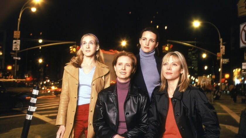 "Sarah Jessica Parker, Cynthia Nixon, Kristin Davis and Kim Cattrall of ""Sex and the City"" in Season 1."
