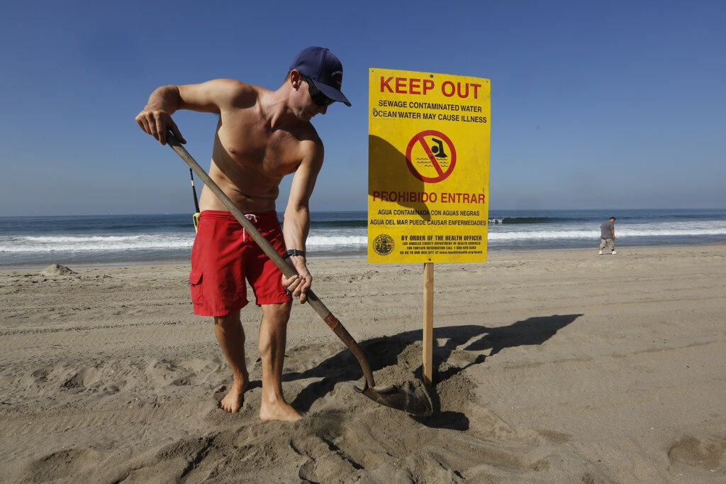 Dockweiler State Beach remained closed Thursday after medical waste, including hypodermic needles, was found along the shoreline.