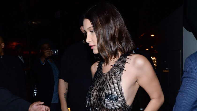 Bella Hadid arrives at 1 Oak for Rihanna's post-Met Gala after-party.