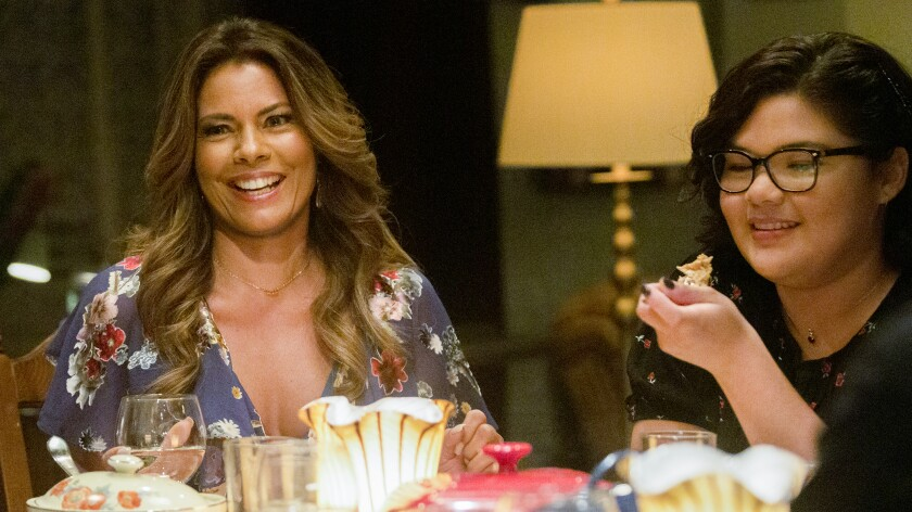 """Lisa Vidal, left, and Belissa Escobedo in a new episode of """"The Baker and the Beauty"""" on ABC."""