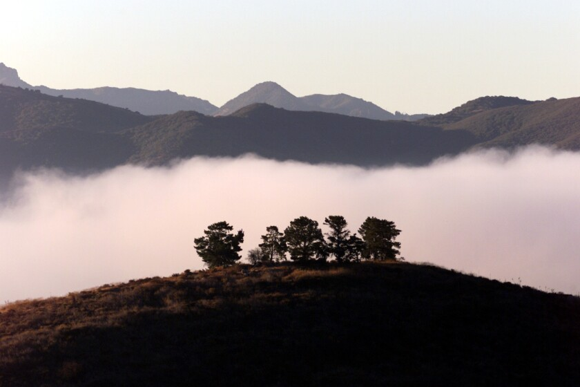 With the Santa Monica Mountains in the background, early-morning fog forms a blanket over the Conejo Valley in Thousand Oaks.