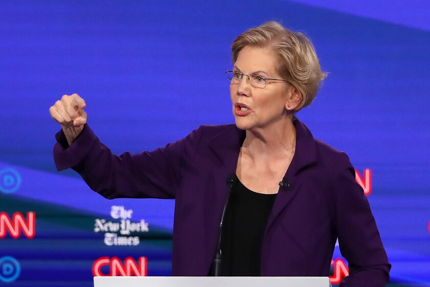 Elizabeth Warren speaks during the Democratic debate.