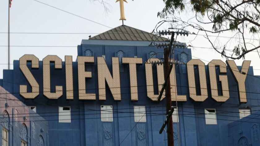 This Aug. 25, 2016, photo shows the Scientology Cross perched atop the Church of Scientology in Los