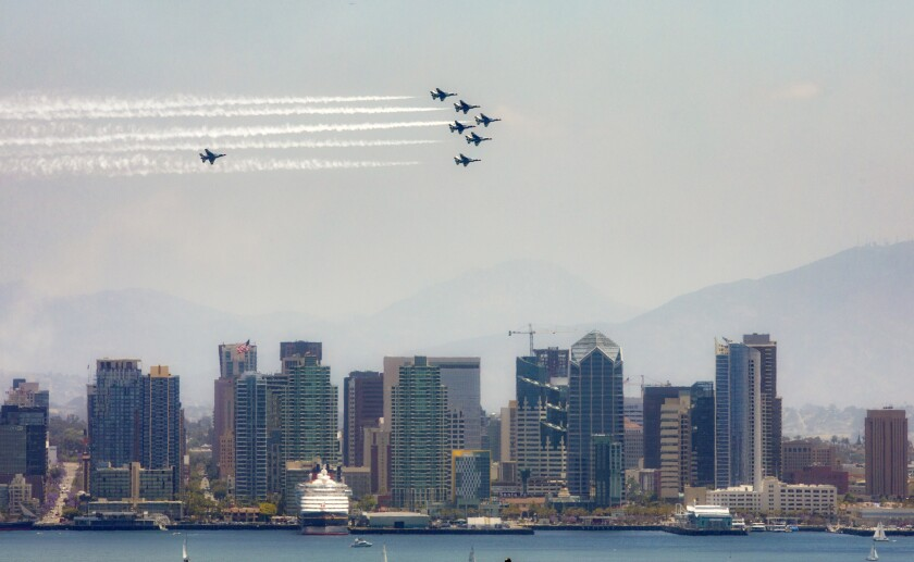 On Friday, the Air Force Thunderbirds team performed flyovers of various locations throughout San Diego County as a salute to front-line COVID-19 responders.