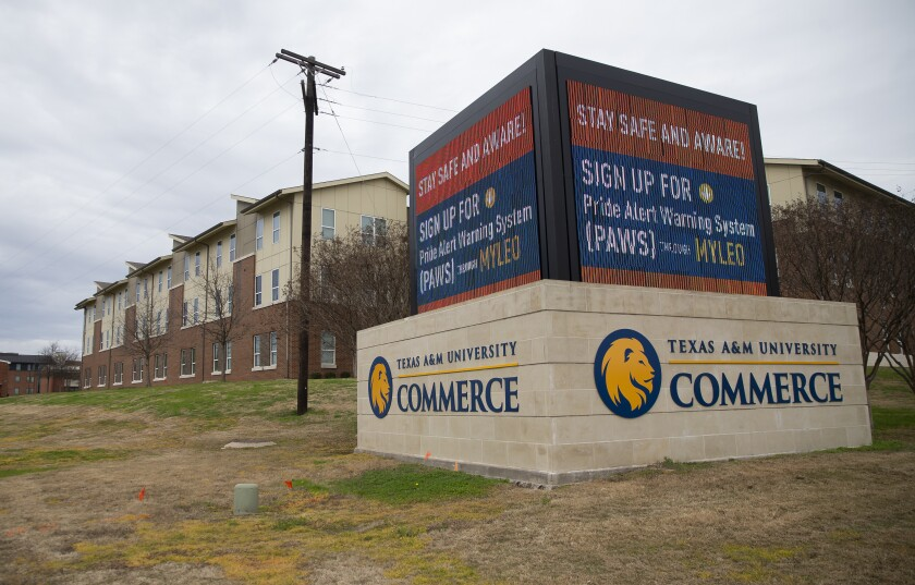 A sign outside of Pride Rock residence hall warns students following a shooting, Monday, Feb. 3, 2020, at Texas A&M University-Commerce in Commerce, Texas. (Juan Figueroa/The Dallas Morning News via AP)
