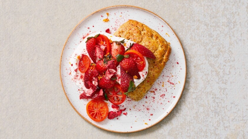 LOS ANGELES - TUESDAY, APRIL 16, 2019: Strawberry shortcake made using Sqirl baker Elise Field's re
