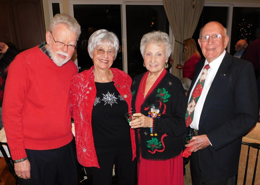 Joining the Kiwanis Club's festivities were, from left, Bill Scherkey, Melinda Thompson, and Marge and Ken Lowe.