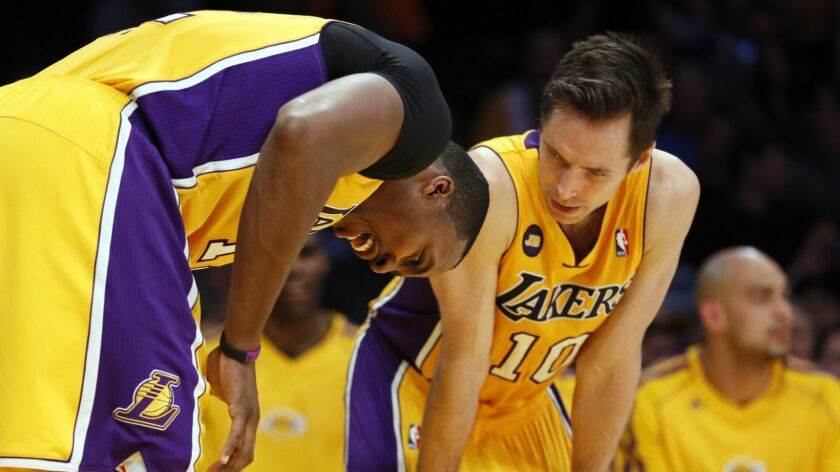 LOS ANGELES, CA, THURSDAY, FEBRUARY 22, 2013 -- FILE - The Lakers' Dwight Howard, left, bends over i