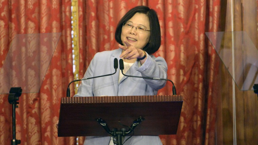 Taiwan President Tsai Ing-wen speaks during a news conference at the Taipei Guest House on Aug. 20, 2016.
