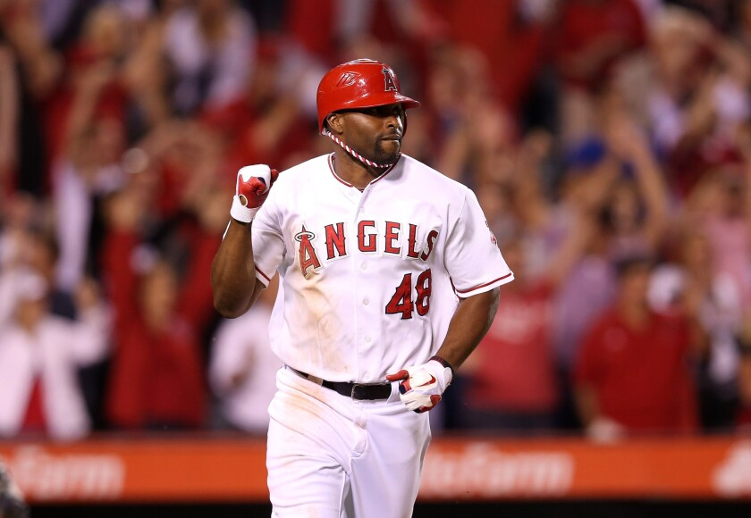 Angels outfielder Torii Hunter reacts after delivering a game-winning hit against the Mariners last season.