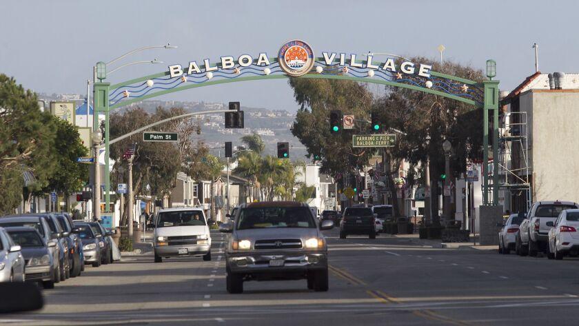 The newly erected archway for Newport Beach's Balboa Village near the Balboa Fun Zone on the Balboa