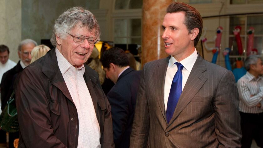Gordon Getty, left, and Gavin Newsom attend a benefit for UC San Francisco's Children's Hospital in 2010.