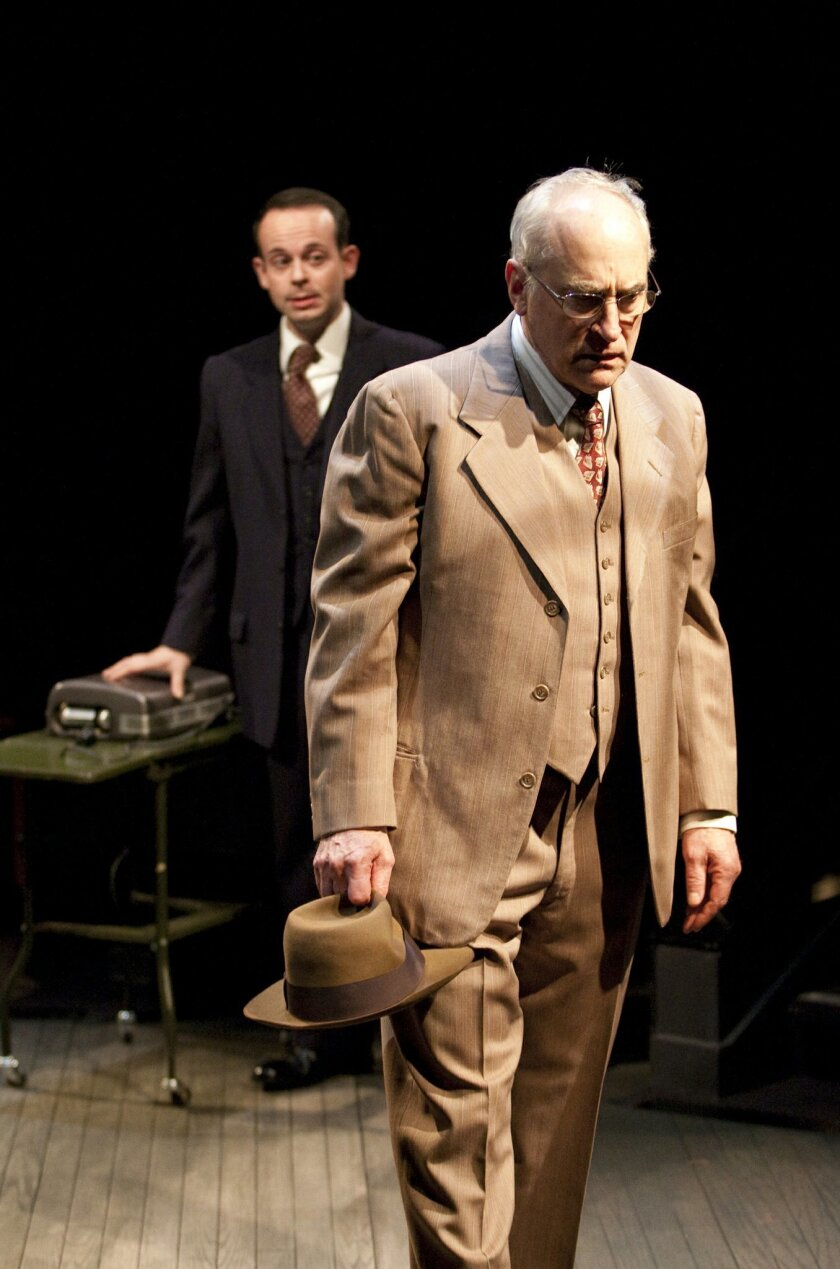 "Jonathan Spivey and Jeffrey DeMunn in ""Death of a Salesman"" at the Globe."