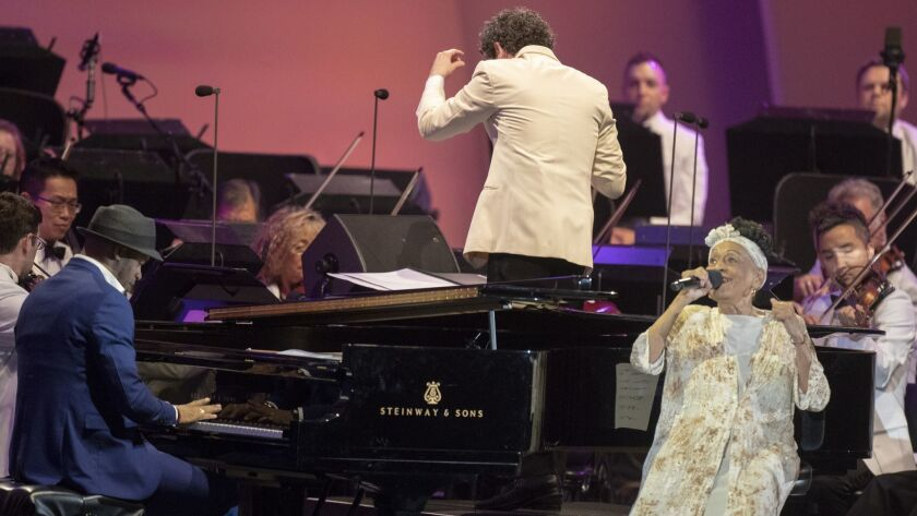Cuban singer Omara Portuondo performs with the Los Angeles Philharmonic and Music Director Gustavo Dudamel plus pianist Roberto Fonseca at the Hollywood Bowl on Tuesday.
