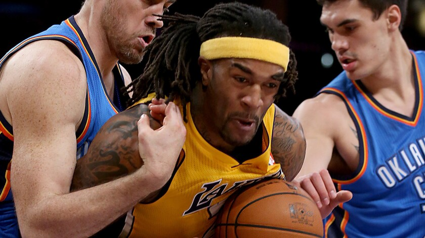 The Lakers re-signed forward Jordan Hill to a two-year contract Wednesday.