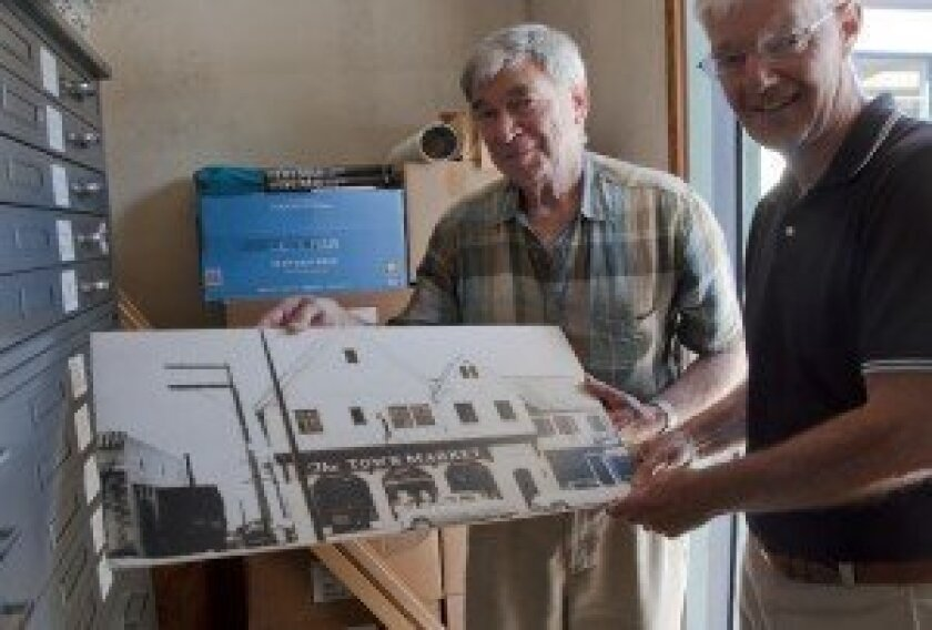 Del Mar Historical Society volunteers Jeffrey Barnouw and Larry Brooks.