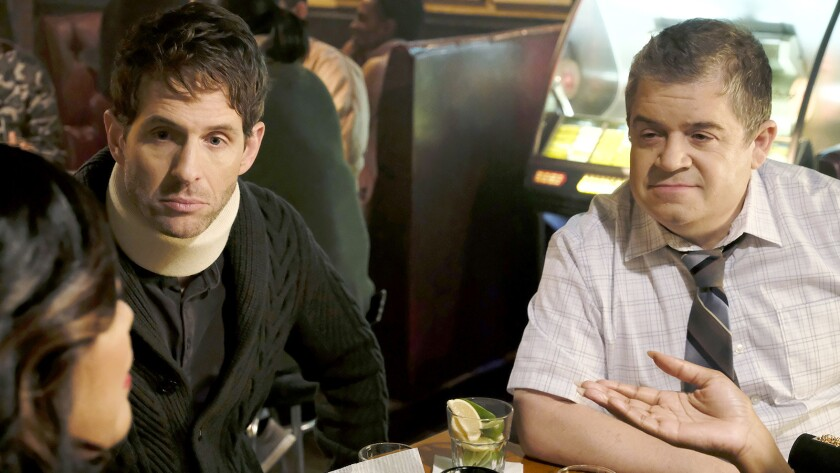 "Glenn Howerton, left, and Patton Oswalt in the second season premiere of ""A.P. Bio"" on NBC."