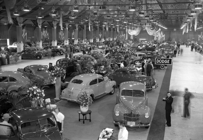 Oct. 14, 1939: Some 150 cars on display at the Automobile Show at Pan-Pacific Auditorium would be glimpsed by an estimated 20,000 visitors.