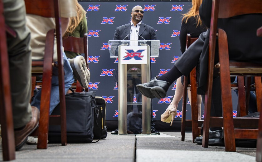 Winston Moss, a former associate head coach of the Green Bay Packers, addresses the media after being announced as the head coach the XFL's Los Angeles at a news conference on May 7.