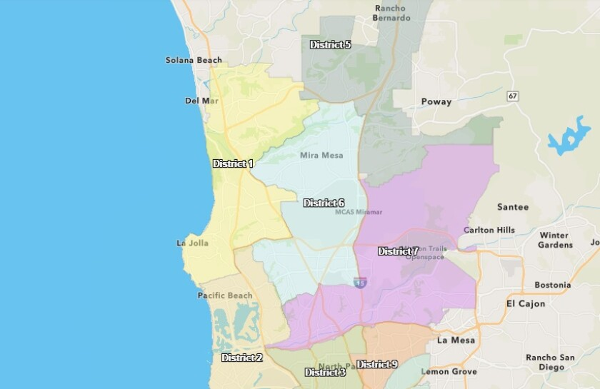 A map of the current City Council District 2 (in tan, as it relates to the surrounding council districts