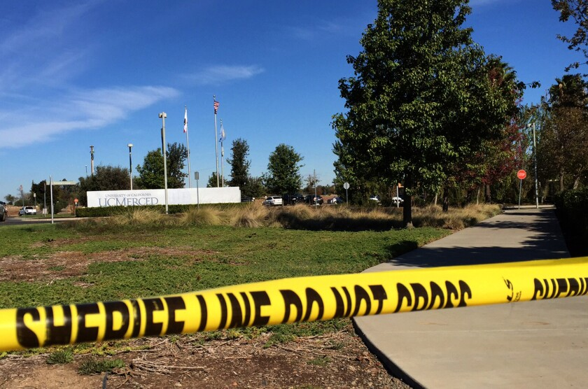 The scene outside UC Merced after 18-year-old freshman Faisal Mohammad stabbed four people in a knife attack in November.