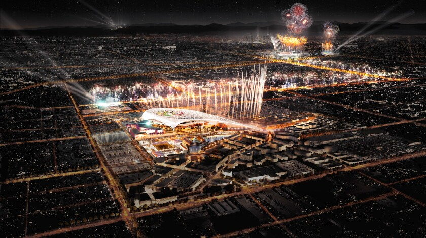 An artist's rendering of a dual ceremony at the Coliseum, upper right, and new NFL stadium for 2024.