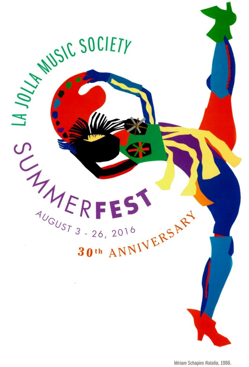 The SummerFest 2016 brochure features 'Natalia,' a 1986 work by Miriam Schapiro, from the collection of the Museum of Contemporary Art San Diego
