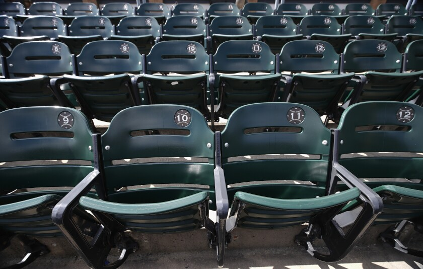 A view of seats in the outfield at Guaranteed Rate Field, home of the Chicago White Sox.