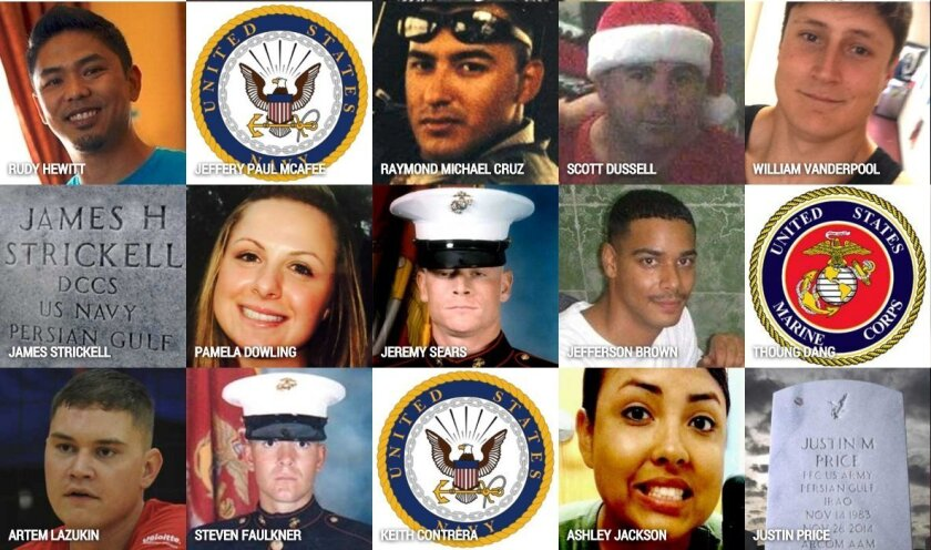 Faces of San Diego County military victims who took their own lives.