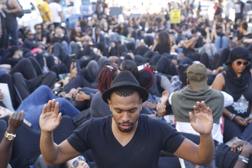 Protesters stage a demonstration in Hollywood against police brutality in 2014.
