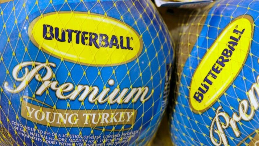 In this file photo made Dec. 7, 2009, Butterball frozen turkeys are on display at Heinen's grocery store in Bainbridge Township, Ohio.