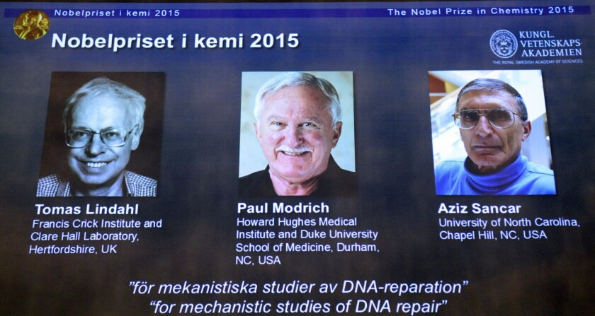 Tomas Lindahl, Paul Modrich and Aziz Sancar have earned the 2015 Nobel Prize in chemistry for their studies of DNA repair.