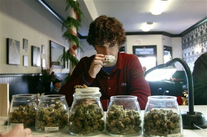 Medical marijuana patient Kevin Brown smells marijuana available at The Apothecarium Medical Cannabis Dispensary in San Francisco in 2011.