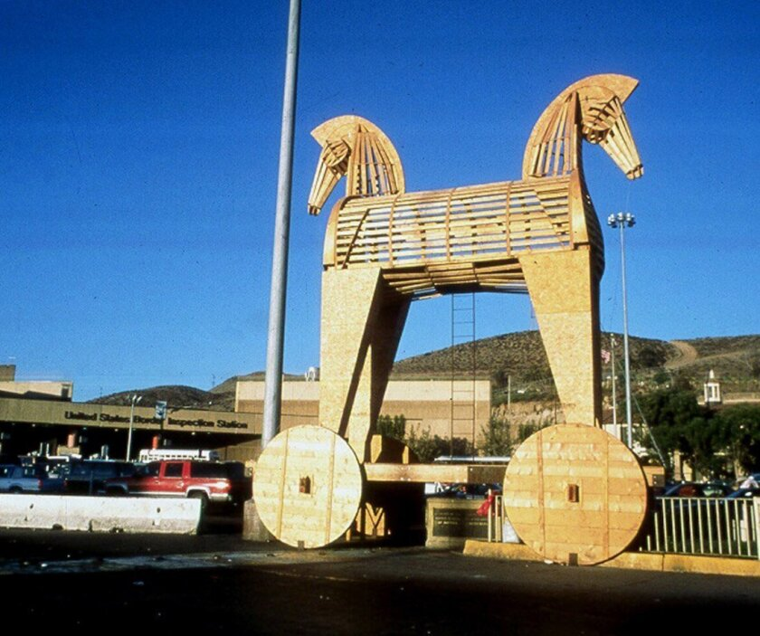 For 'Toy An Horse' (1997), Marcos Ramirez ERRE built a two-headed metal and wooden horse (a reference to the Trojan horse from the Iliad), and placed it at the U.S.-Mexico border between Tijuana and San Diego so that it faced north and south. 'Instead of feeling half Mexican and half American, I fe