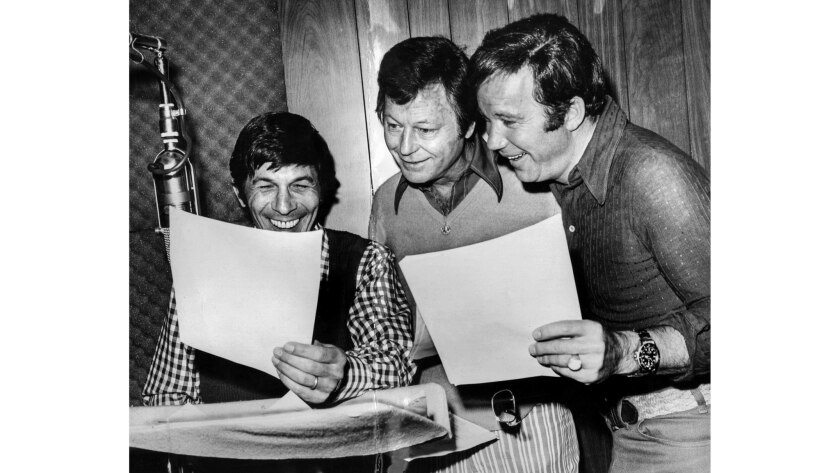 """April 24, 1973: From left, Leonard Nimoy, DeForest Kelley and William Shatner – stars of hit TV series """"Star Trek"""" – record their voices in a Los Angeles studio for """"Star Trek: The Animated Series."""""""