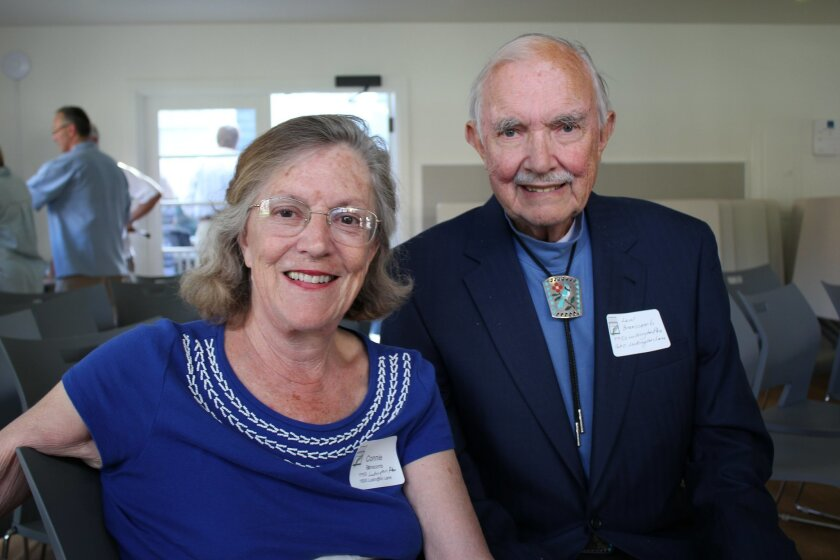 Connie and Lewis Branscomb were honored for their efforts to preserve homes designed by architects Russell Forester and Lillian Rice. Lewis restored the entrance of his Rice home to its 1929 condition to qualify for a Mills Act tax break. He found the original bottle glass windows in the basement.