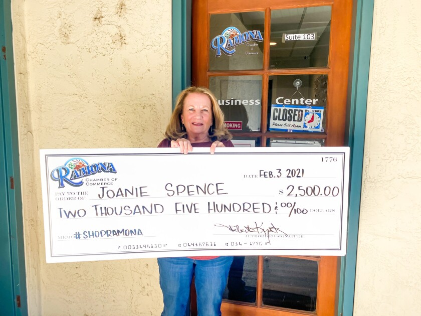 Joanie Spence was the winner of a $2,500 Ramona shopping spree in the Ramona Chamber of Commerce contest over the holidays.